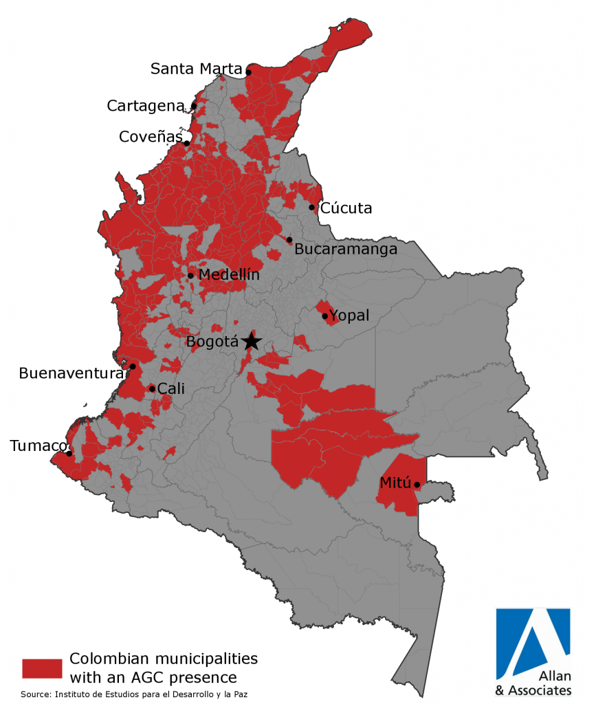 Colombian municipalities with an AGC presence