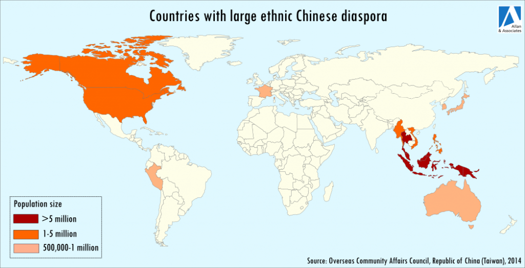 Countries with large ethnic chinese diaspora