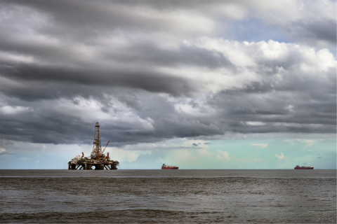 An offshore oil platform in Trinidad & Tobago